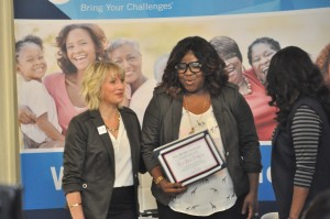 "Cora Jakes-Coleman is honored with the ""What Leading Looks Like"" award"